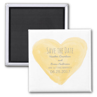 Yellow Watercolor Heart Save the Date Magnet