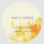YELLOW WATERCOLOR LANDSCAPE TREE FOLIAGE MONOGRAM CLASSIC ROUND STICKER