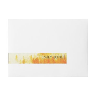 Professional Business YELLOW WATERCOLOR LANDSCAPE TREE FOLIAGE MONOGRAM WRAP AROUND ADDRESS LABEL