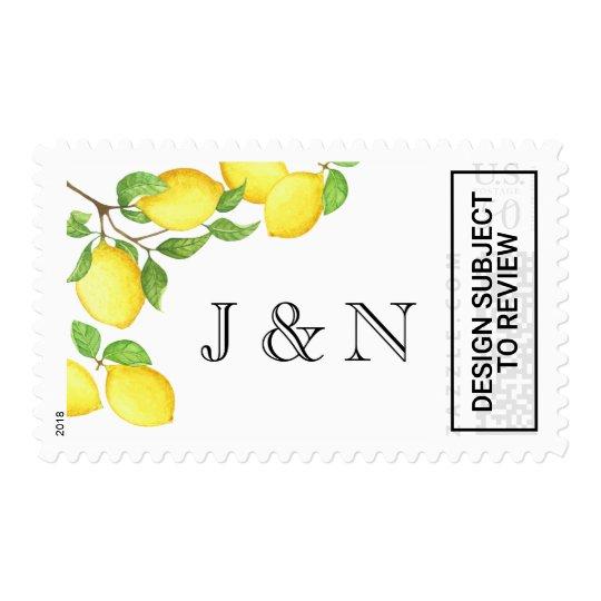 Yellow Watercolor Lemon Custom Postage Stamp