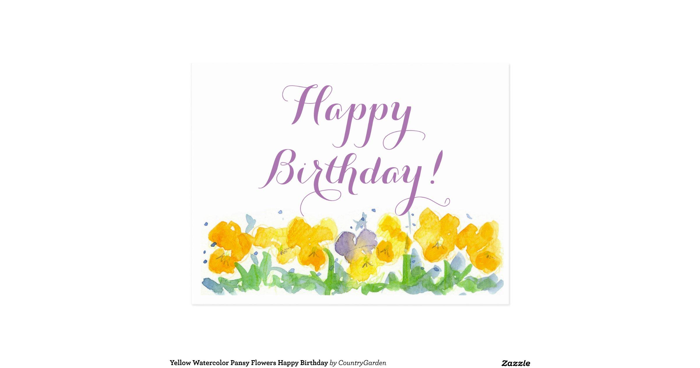 Yellowwatercolorpansyflowershappybirthdaypostcard