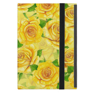 Yellow watercolor roses pattern case for iPad mini