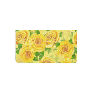 Yellow watercolor roses pattern checkbook cover