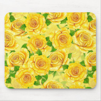 Yellow watercolor roses pattern mouse pad