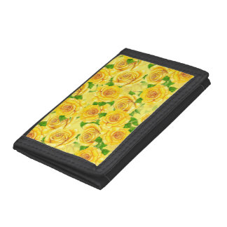 Yellow watercolor roses pattern trifold wallet