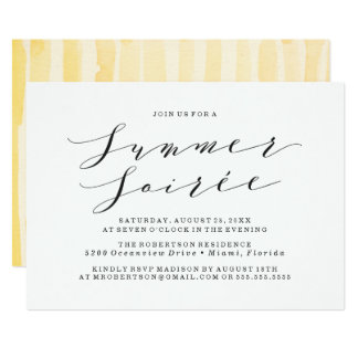 Yellow Watercolor Summer Soiree Party Invitation