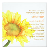 Yellow Watercolor Sunflower Floral Wedding Card