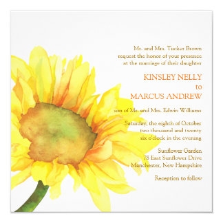 "Yellow Watercolor Sunflower Floral Wedding Invites 5.25"" Square Invitation Card"