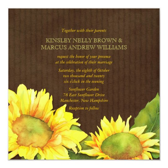 Yellow Watercolor Sunflowers Floral Fall Wedding Card