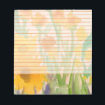 """Yellow Watercolor Sunflowers Orange Lined Notepad<br><div class=""""desc"""">A pretty floral lined notepad decorated with a bouquet of autumn sunflowers and wildflowers in shades of goldenrod,  copper and orange painted in watercolor.</div>"""