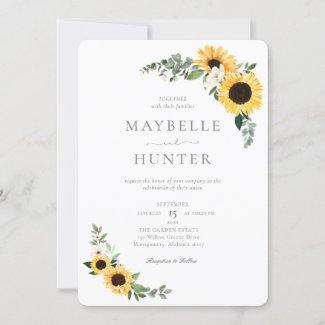 Simple Sunflower Wedding Invitation in Yellow