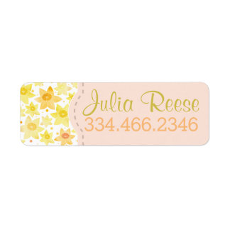 Yellow Watercolour Daffodil & Dots Pattern Return Address Label