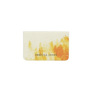 Professional Business YELLOW WATERCOLOUR LANDSCAPE TREE FOLIAGE MONOGRAM BUSINESS CARD HOLDER