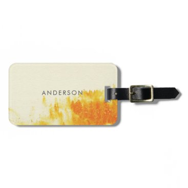 Professional Business YELLOW WATERCOLOUR LANDSCAPE TREE FOLIAGE MONOGRAM LUGGAGE TAG