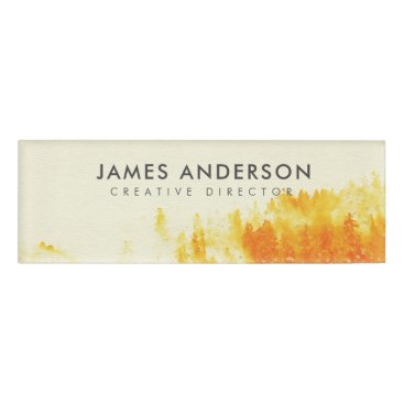 Professional Business YELLOW WATERCOLOUR LANDSCAPE TREE FOLIAGE MONOGRAM NAME TAG