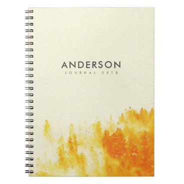 Professional Business YELLOW WATERCOLOUR LANDSCAPE TREE FOLIAGE MONOGRAM NOTEBOOK