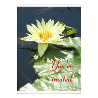 Yellow waterlily 4.5x6.25 paper invitation card
