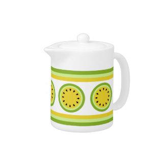 Yellow Watermelon and Stripes   Teapot