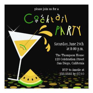 Yellow Watermelon Martini Cocktail Party Invite