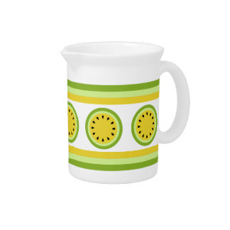 Yellow Watermelon Slice and Stripes Pitcher