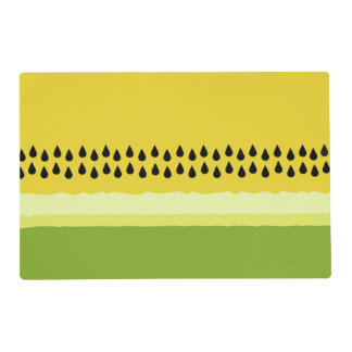 Yellow Watermelon Slice Laminated Placemats