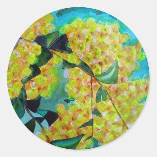 Yellow Wattle native Australian flower art Classic Round Sticker