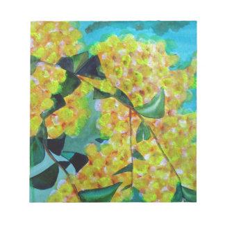 Yellow Wattle native Australian flower art Notepad