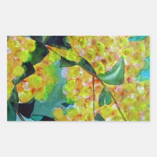 Yellow Wattle native Australian flower art Rectangular Sticker