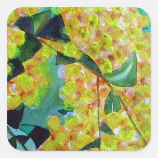 Yellow Wattle native Australian flower art Square Sticker