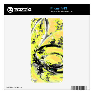 Yellow Wave iPhone 4 Decal