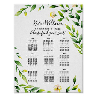 yellow wedding floral Table plan party/wedding Poster