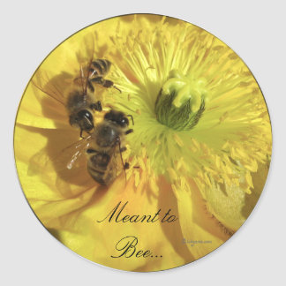 Yellow Wedding Flowers Invitation Seals Classic Round Sticker