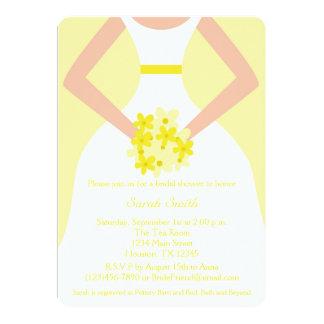 Yellow Wedding Gown Bridal Shower Invitation