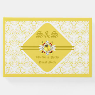 Yellow Wedding Guest Book w/ G F