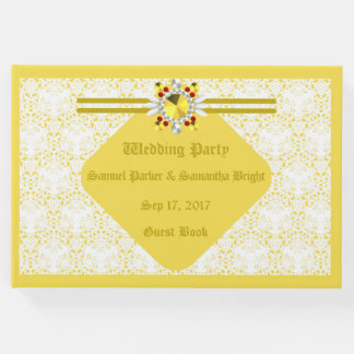 Yellow Wedding Guest Book w/ G F 2
