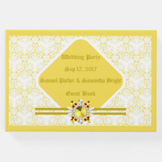 Yellow Wedding Guest Book w/ G F 3