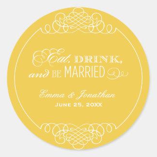 Yellow Wedding Monogram   Eat Drink & Be Married Classic Round Sticker