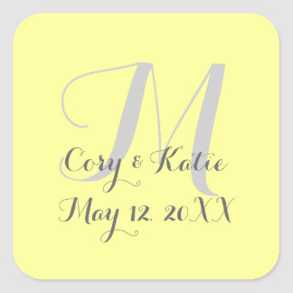 Yellow Wedding Monogram Stickers