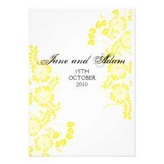 yellow wedding personalized announcements