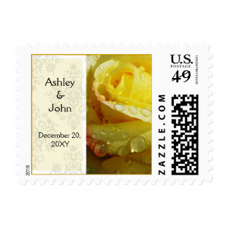 yellow wedding postage stamp