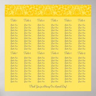 Yellow Wedding Reception Seating Chart - Square Print