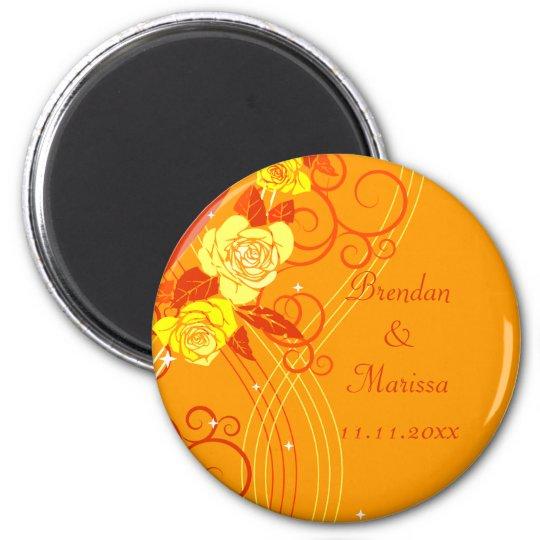 Yellow Wedding Roses Orange Magnet