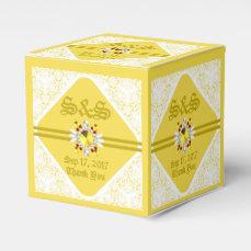 Yellow Wedding SQ Favor Box W/ GF