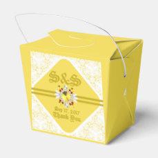 Yellow Wedding Take Out Favor Box W/ GF