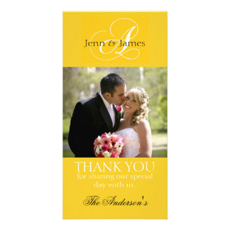 Yellow Wedding Thank You Bride Groom Photo Cards