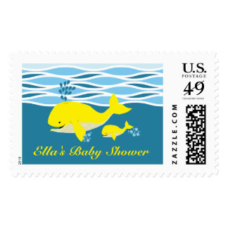 Yellow Whale Baby Shower Stamp