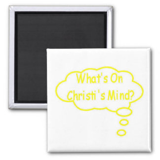 Yellow What's On Christi's Mind Thought Bubble 2 Inch Square Magnet