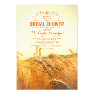 yellow wheat field rustic vintage bridal shower card
