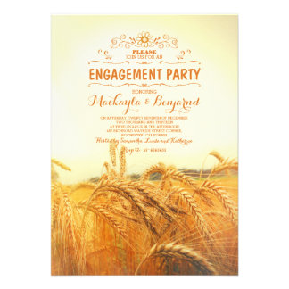 yellow wheat field rustic vintage engagement party card