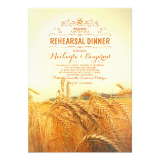 yellow wheat field rustic vintage rehearsal dinner card